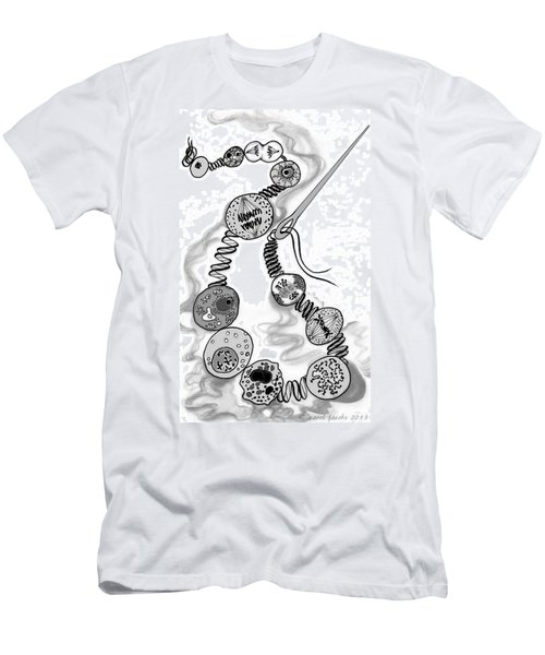 Men's T-Shirt (Slim Fit) featuring the digital art Beads Of Life by Carol Jacobs