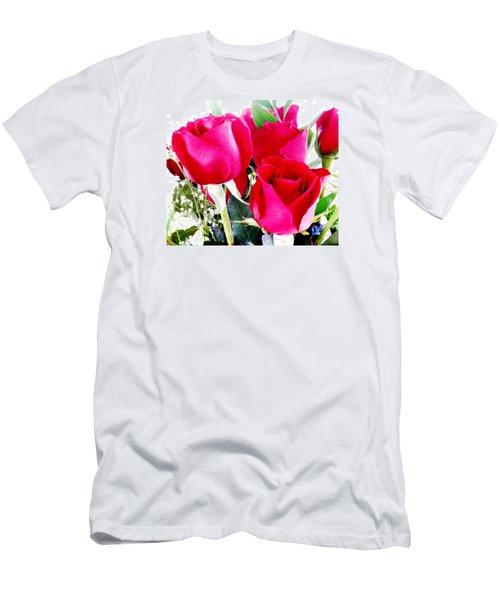 Beautiful Neon Red Roses Men's T-Shirt (Slim Fit) by Belinda Lee