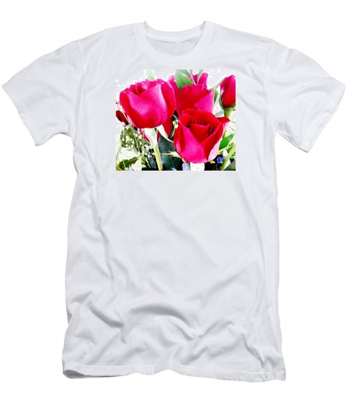Beautiful Neon Red Roses Men's T-Shirt (Athletic Fit)