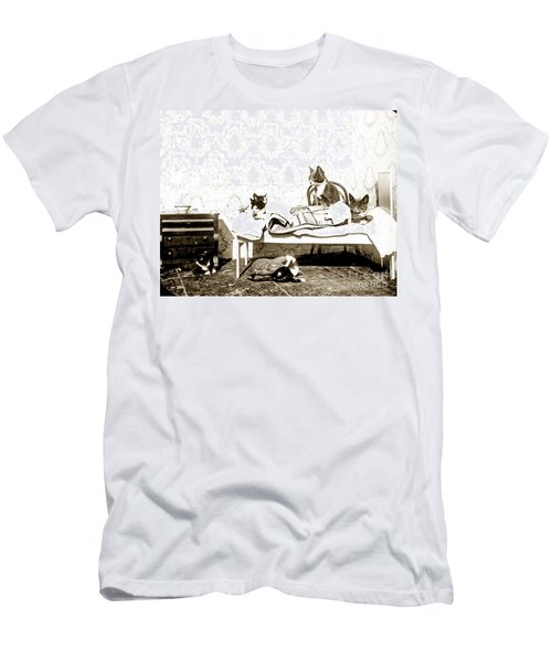 Men's T-Shirt (Slim Fit) featuring the photograph Bed Time For Kitty Cats Histrica Photo Circa 1900 by California Views Mr Pat Hathaway Archives