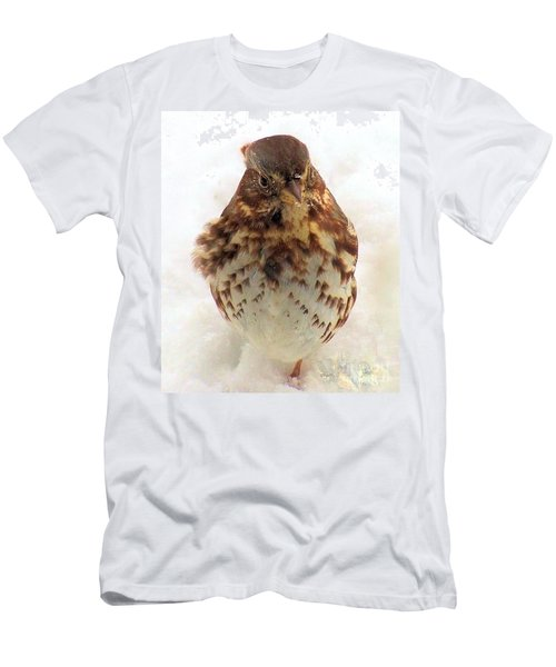 Men's T-Shirt (Slim Fit) featuring the photograph Fox Sparrow In Snow by Janette Boyd