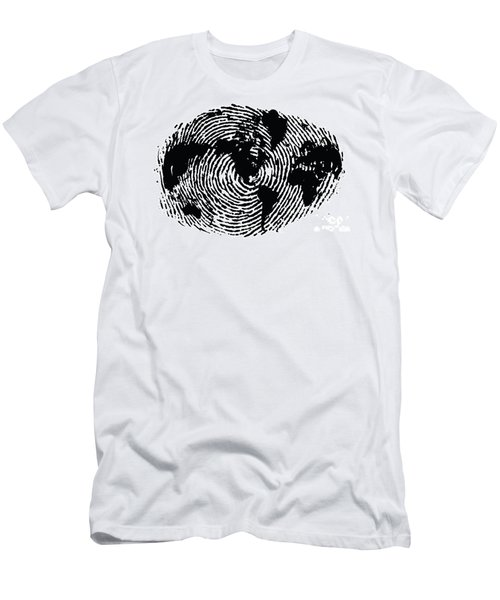black and white ink print poster One of a Kind Global Fingerprint Men's T-Shirt (Athletic Fit)