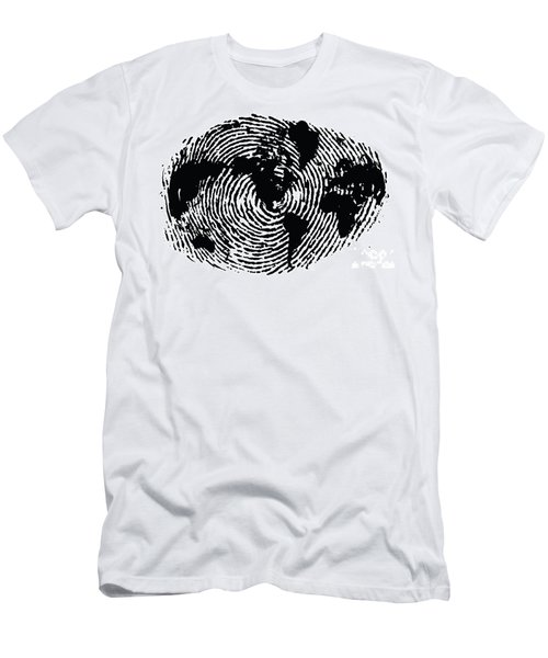 black and white ink print poster One of a Kind Global Fingerprint Men's T-Shirt (Athletic Fit)