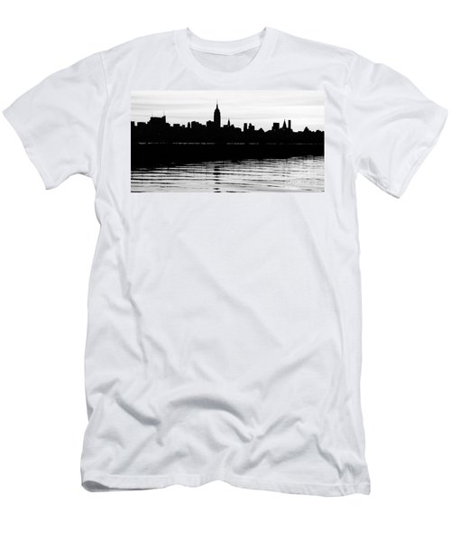 Men's T-Shirt (Slim Fit) featuring the photograph Black And White Nyc Morning Reflections by Lilliana Mendez