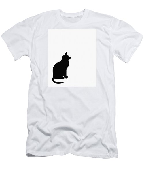 Black Cat Silhouette On A White Background Men's T-Shirt (Athletic Fit)