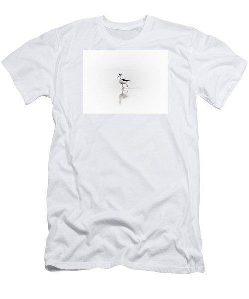 Men's T-Shirt (Slim Fit) featuring the photograph Black Necked Stilt by John  Kolenberg