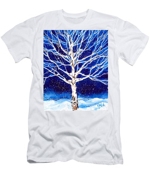 Men's T-Shirt (Slim Fit) featuring the painting Blanket Of Stillness by Jackie Carpenter