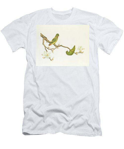 Blue Crowned Parakeet Hannging On A Magnolia Branch Men's T-Shirt (Athletic Fit)