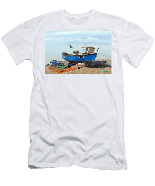 Blue Fishing Boat Men's T-Shirt (Athletic Fit)