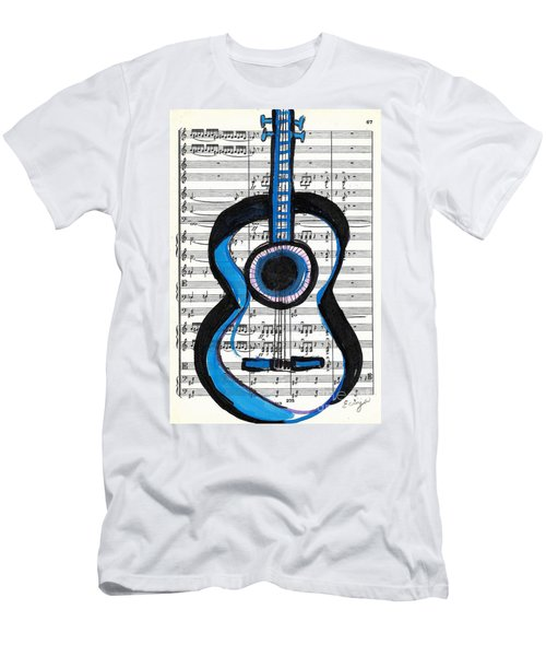 Men's T-Shirt (Slim Fit) featuring the drawing Blue Guitar Music by Ecinja Art Works