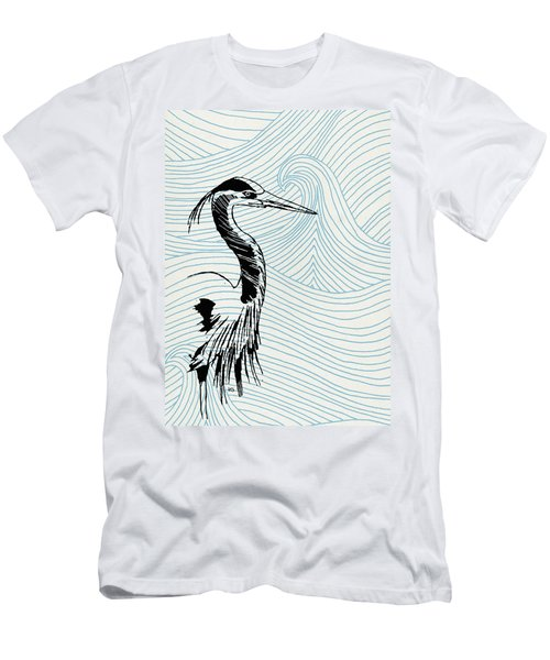 Blue Heron On Waves Men's T-Shirt (Athletic Fit)