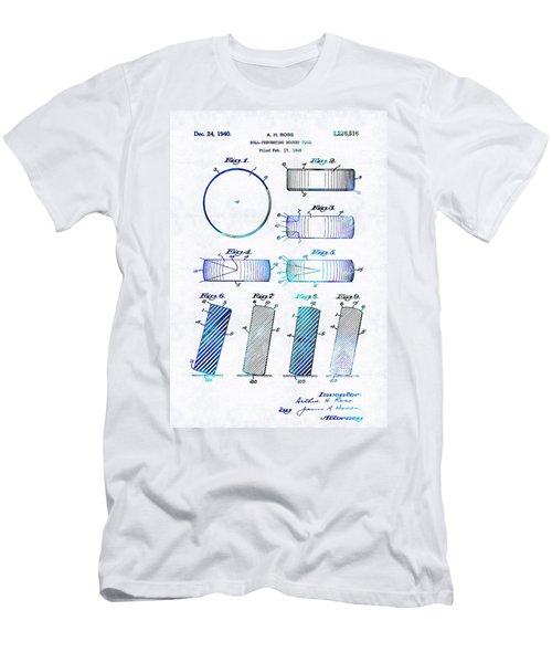 Blue Hockey Art - Hockey Puck Patent - Sharon Cummings Men's T-Shirt (Athletic Fit)