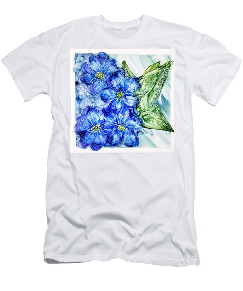 Blue Springy Flowers Alcohol Inks Men's T-Shirt (Athletic Fit)