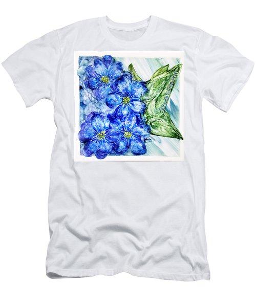 Blue Springy Flowers Alcohol Inks Men's T-Shirt (Slim Fit) by Danielle  Parent