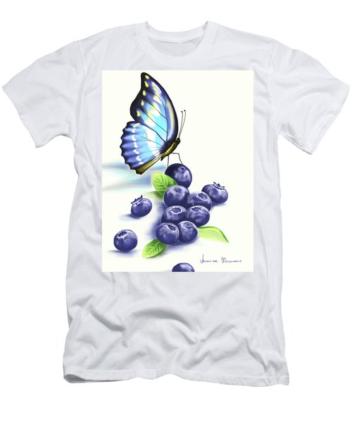 Blueberries And Butterfly Men's T-Shirt (Athletic Fit)