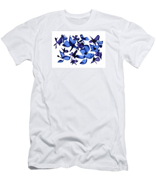 Men's T-Shirt (Slim Fit) featuring the mixed media Blues And Violets by Frank Bright