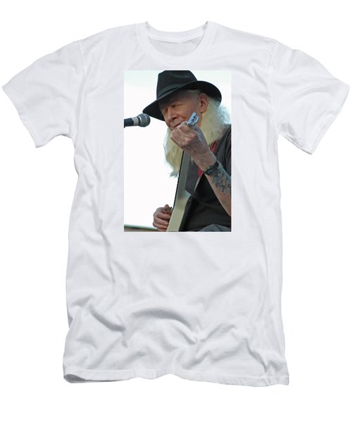 Men's T-Shirt (Slim Fit) featuring the photograph Bluesman Johnny Winter by Mike Martin