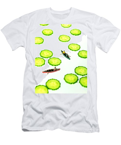 Boating Among Cucumber Slices Miniature Art Men's T-Shirt (Athletic Fit)