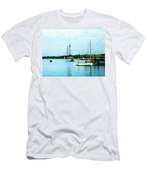 Boats On A Calm Sea Men's T-Shirt (Slim Fit) by Susan Savad