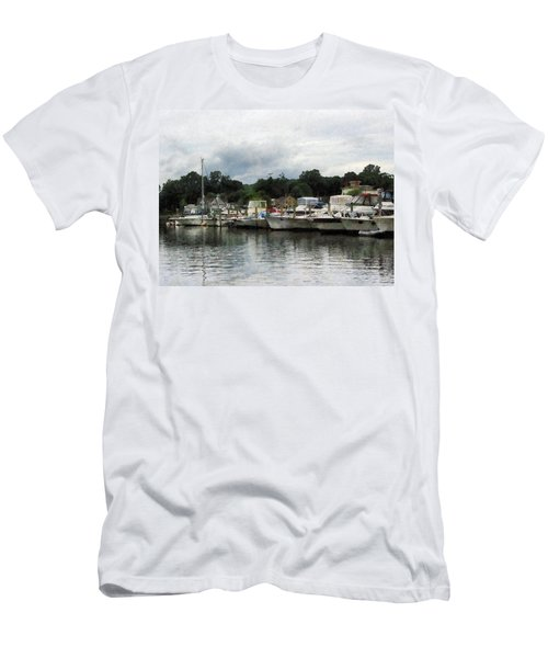 Boats On A Cloudy Day Essex Ct Men's T-Shirt (Slim Fit) by Susan Savad