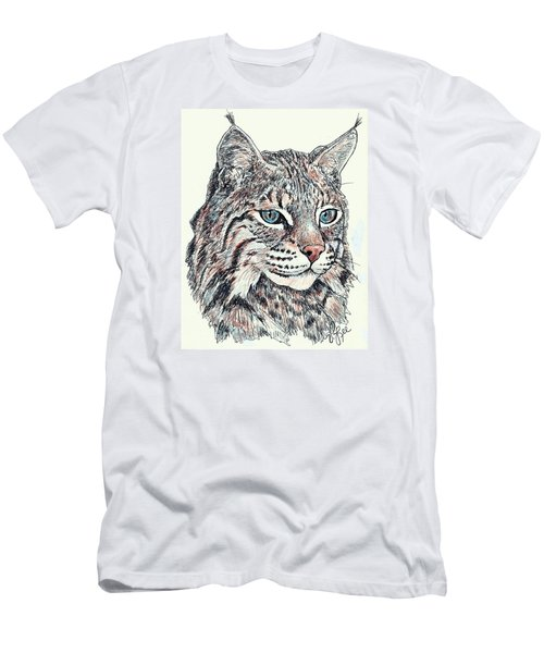 Men's T-Shirt (Slim Fit) featuring the drawing Bobcat Portrait by VLee Watson