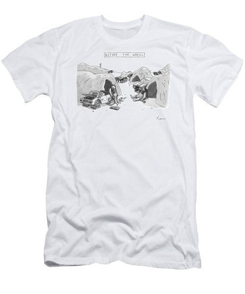Bored Cavemen Sitting Around Next To Cars Men's T-Shirt (Athletic Fit)