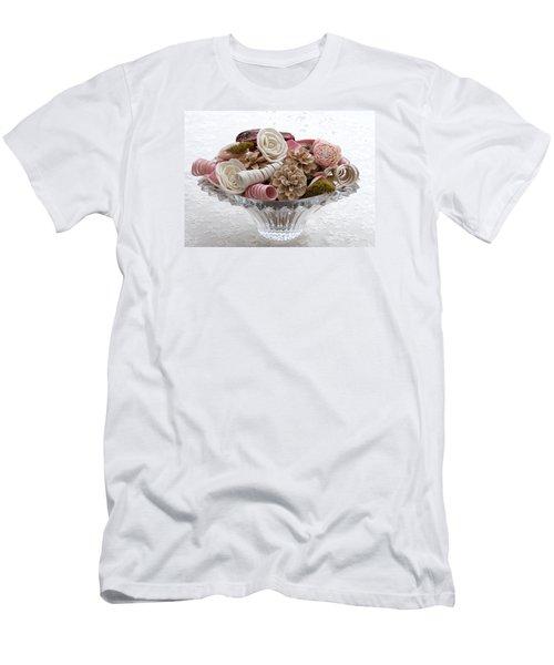 Bowl Of Potpourri On Lace Men's T-Shirt (Slim Fit) by Connie Fox