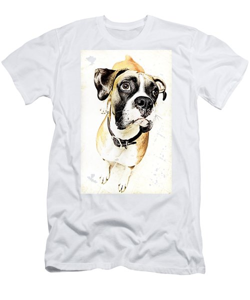 Men's T-Shirt (Slim Fit) featuring the photograph Boxer Dog Poster by Peter v Quenter
