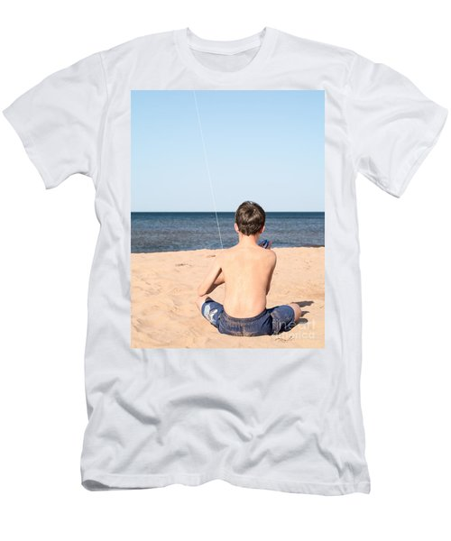 Boy At The Beach Flying A Kite Men's T-Shirt (Athletic Fit)
