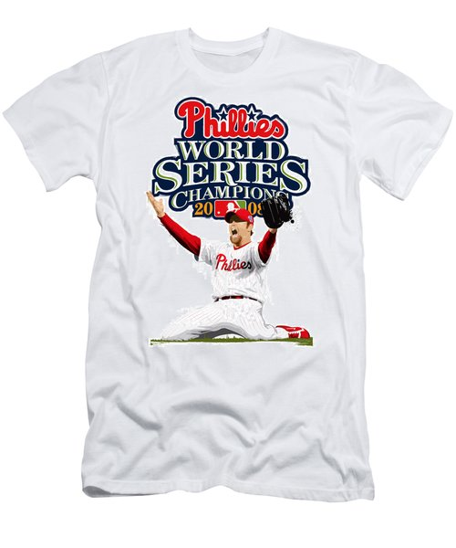 Brad Lidge Ws Champs Logo Men's T-Shirt (Slim Fit) by Scott Weigner