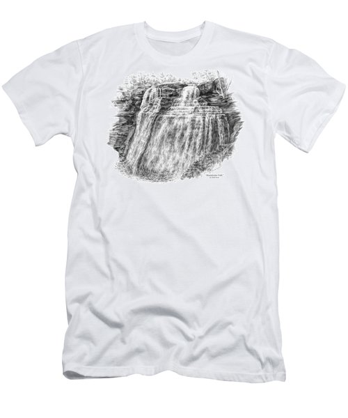 Men's T-Shirt (Slim Fit) featuring the drawing Brandywine Falls - Cuyahoga Valley National Park by Kelli Swan