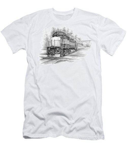 Men's T-Shirt (Slim Fit) featuring the drawing Brecksville Station - Cuyahoga Valley National Park by Kelli Swan