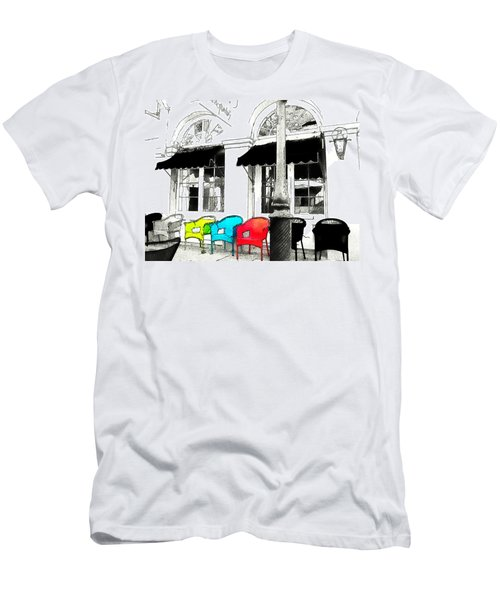 Men's T-Shirt (Slim Fit) featuring the photograph Bright Bistro by Kathy Bassett