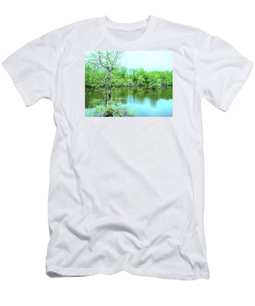 Bright Green Mill Pond Reflections Men's T-Shirt (Athletic Fit)