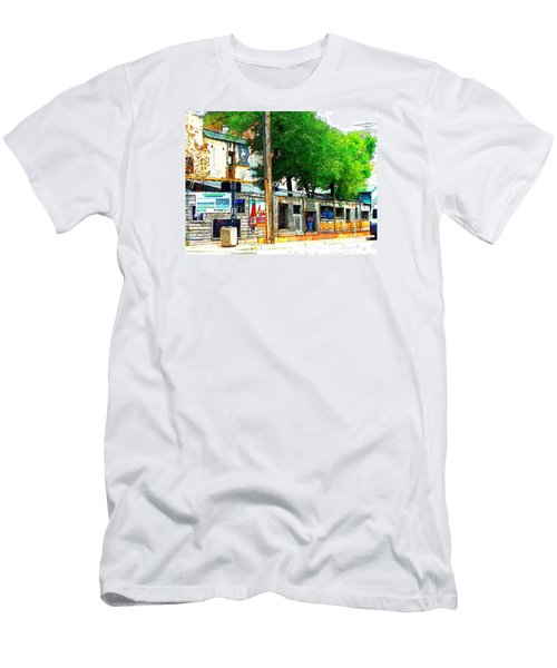 Broadway Oyster Bar With A Boost Men's T-Shirt (Slim Fit) by Kelly Awad
