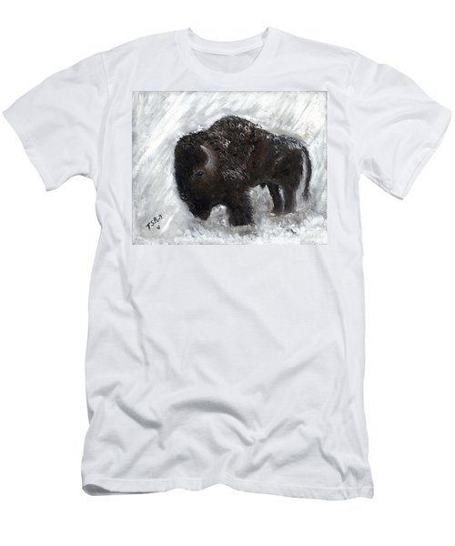 Buffalo In The Snow Men's T-Shirt (Slim Fit) by Barbie Batson