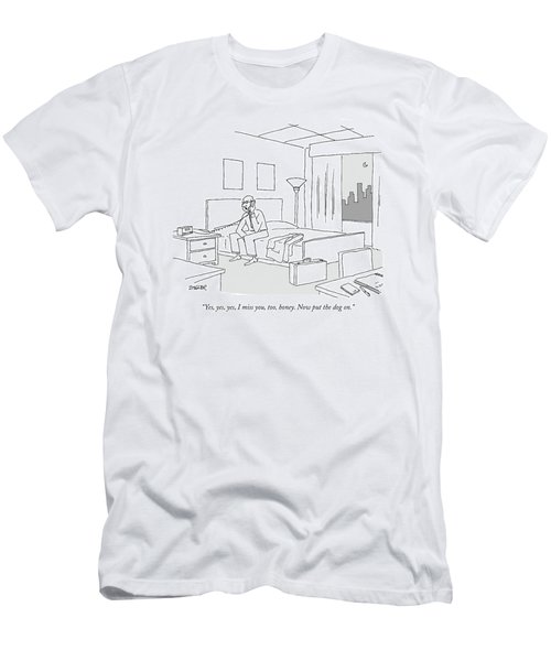 Businessman Sitting On A Bed In Hotel Room Men's T-Shirt (Athletic Fit)