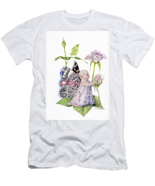 Men's T-Shirt (Slim Fit) featuring the drawing Butterfly Baby by Laurianna Taylor