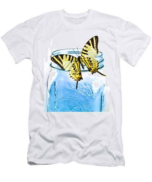 Butterfly On A Blue Jar Men's T-Shirt (Slim Fit) by Bob Orsillo