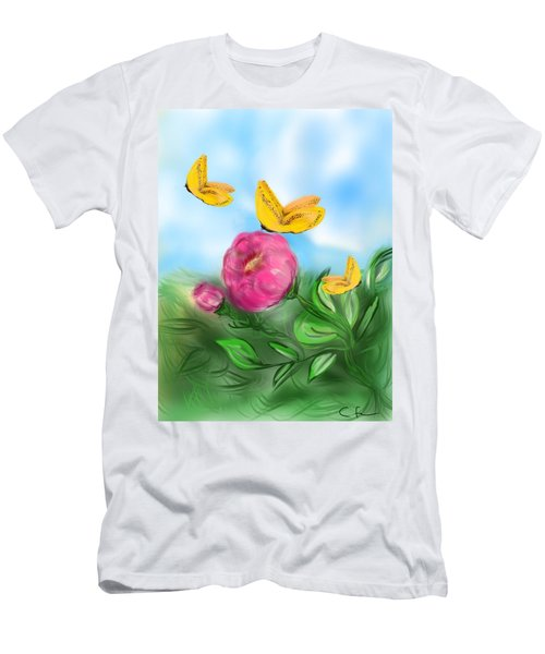 Men's T-Shirt (Slim Fit) featuring the digital art Butterfly Triplets by Christine Fournier