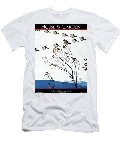 Canadian Geese Over Brown-leafed Trees Men's T-Shirt (Athletic Fit)
