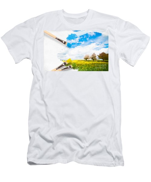 Canola Field In Summer Men's T-Shirt (Athletic Fit)