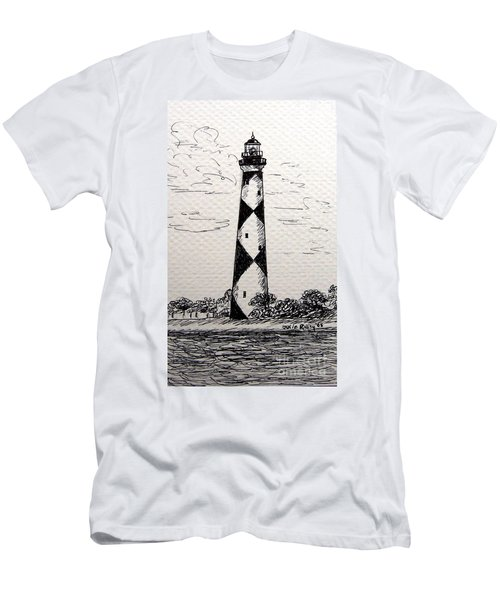 Cape Lookout Lighthouse Nc Men's T-Shirt (Slim Fit) by Julie Brugh Riffey