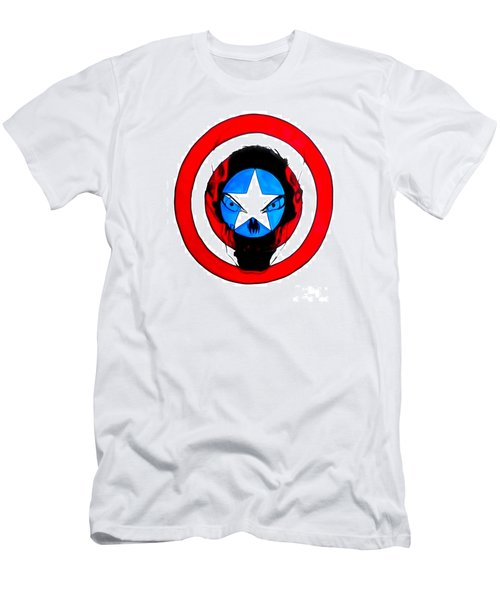Men's T-Shirt (Slim Fit) featuring the drawing Captain America And Red Skull by Justin Moore