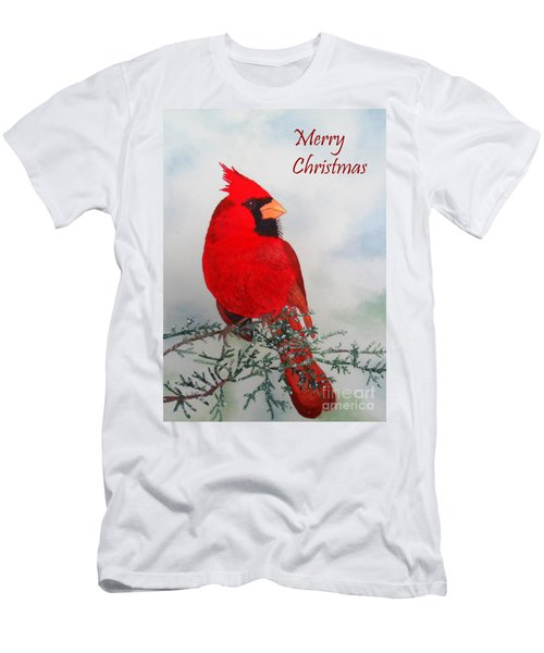 Cardinal Merry Christmas Men's T-Shirt (Athletic Fit)