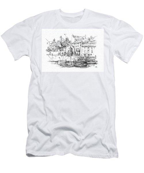 Men's T-Shirt (Slim Fit) featuring the drawing Castletown Harbour by Paul Davenport
