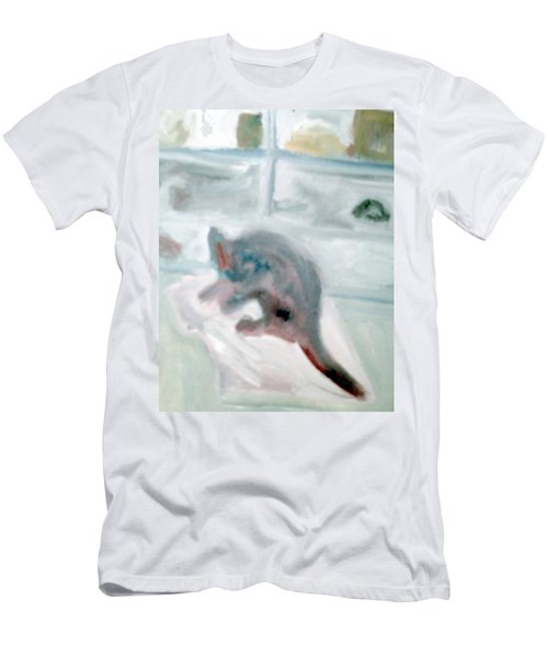 Cat In The Garage On A Mat Men's T-Shirt (Athletic Fit)