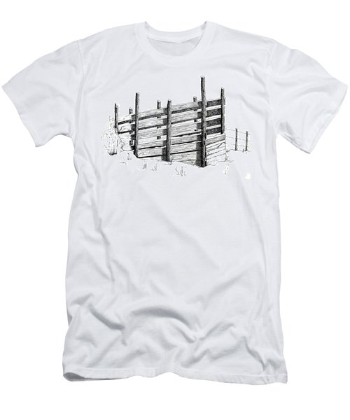 Men's T-Shirt (Slim Fit) featuring the painting Cattle Chute Ink by Richard Faulkner