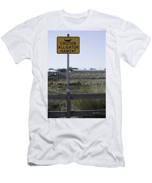 Caution Alligator Habitat Men's T-Shirt (Athletic Fit)