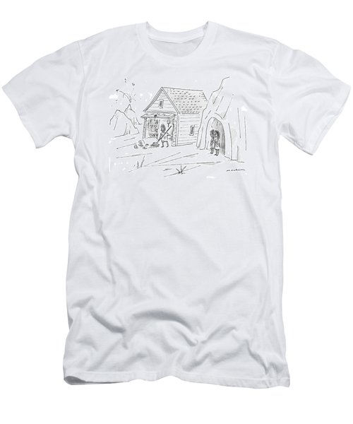 Caveman Sweeping Up His Garage Men's T-Shirt (Athletic Fit)